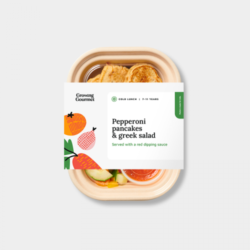 Growing Gourmet's pepperoni pancakes and greek salad meal in packaging.